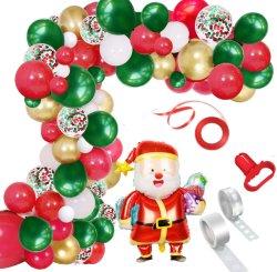 메리 크리스마스 풍선 아치 갈랜드 키트, 115개 그린 레드 화이트 화이트 화이트 화이트, 산타클로스 마일라 풍선을 포함한 크리스마스 파티 장식 뉴