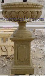 彫刻を施した石大理石の花崗岩の砂岩のスタンディングペデスタルフラワープランターの花瓶 庭の家の飾るため (QFP343)