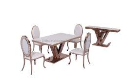 Stellte Vierecks-Luxuxmöbel-Rosen-Goldspeisetisch mit weißer Marmoroberseite ein