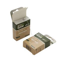 Filo interdentale in scatola di carta in nylon cerato al menta/carbone ecologico