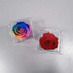 カスタムプレキシガラスは単一のローズのために花ボックスふたが付いているアクリルのゆとりのローズボックスを永久に維持した