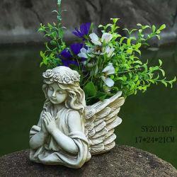 Индивидуальные Flower Pot украшения полимера молились Angel Мемориал статуи, пользовательские дизайн полимера молились Ангел с крыльями