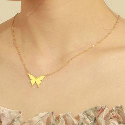 Новейшая мода женщин стиле из нержавеющей стали Gold польский бабочка подвесная цепочка