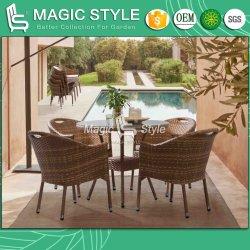 クッションの屋外の食事の椅子の庭のコーヒーテーブルの藤の籐椅子クラブ籐椅子(セットを食事しているアンガス)の家具が付いているセットを食事するテラス