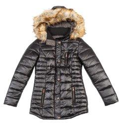 女性の冬のジャケットの取り外し可能なのど毛皮の細いパッディングのコート