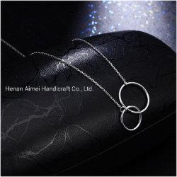 Moda 925 Colar de prata a cadeia de anéis o pendente manual