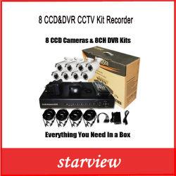 CCD de 8 canais vigilância DVR H. 264 Kit Gravador de vídeo de segurança CCTV (SV60-DK08W242)