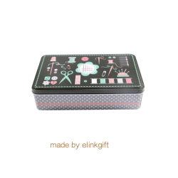 長方形の刺繍の縫うキットの一定のツールの金属の錫ボックスひげの工具細工ボックス収納箱