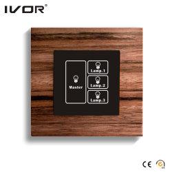 3 Painel de Toque do Interruptor de Iluminação gangues com Master Control (HR1000-WD-L3M)