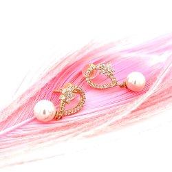 Design atraente 925 Plaing Ouro jóias de prata Pearl Ear Post/Aretes