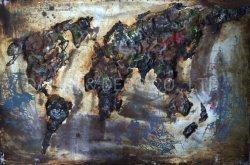 金属の装飾の油絵の壁の芸術の鉄の世界地図3D次元