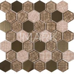 Impresión de chorro de tinta hexagonal mosaico de vidrio Metal mosaico Backsplashes Mix
