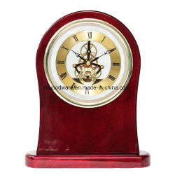 Le luxe du bois de rose brillant bureau en bois & Décoration de table avec squelette Mouvement d'horloge