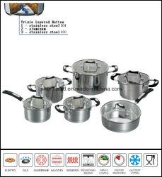 12PCS Reeks Cookware de Zonder water van de Bodem van het Effect van het roestvrij staal
