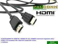HDMI1.4b cable, cable de alta velocidad,19pin,Longitud:1200mm, UL20276, chaqueta negro,Od:6,0 mm, soportar la prueba de tensión: 300V AC/DC Min.La resistencia de aislamiento: 10mohm Min.