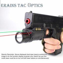 2018 Nouveau boîtier en nylon léger tactique militaire 120 Lumens lampe de poche LED avec double laser rouge et vert Voyant laser Combo 3 en 1