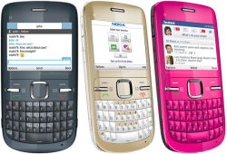 Desbloquea Original para Nokia C3 teléfono móvil con teclado QWERTY