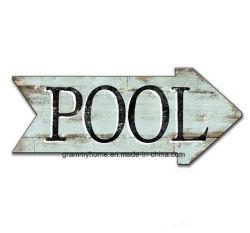 Weinlese-Pool kennzeichnet Sommer-Zeichen-Sommer-blauer Pfeil-hölzerne Zeichen