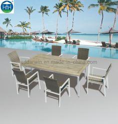 Tavolo Da Pranzo Con Struttura In Legno Di Alluminio E Legno Di Metallo Per Esterni E Mobili Da Giardino Per Sedia