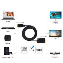 Cable convertidor VGA a HDMI 1080p HDMI 1.4 Macho a VGA macho chapado en oro Cable adaptador de vídeo activo (1,8 metros y 6 pies).