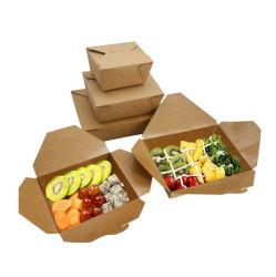 Fsc FDA het olie-Bewijs van het Document van Kraftpapier van het Embleem van de Douane de Waterdichte PE Container van het Vakje van het Snelle Voedsel van de Maaltijd van de Lunch van de Kip van de Snack van de Hotdog van de Salade van de Deklaag Sushi Gebraden Beschikbare Meeneem