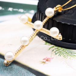 Neue Entwurfs-Form-Perlen-hängendes Diamant-Goldrhodium-Kreuz-Halsketten-Kreuz für Männer und Frauen