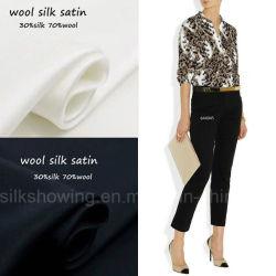 قماش Wool Silk Satin مطبوع من Leopard لـ Office Lady Shrit