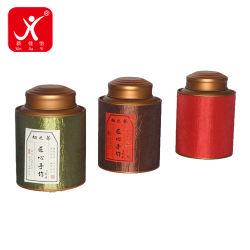 Embalaje cinta de seda de la superficie del tubo de papel fuerte gran té verde puede con doble tapa dorada latas Wholease