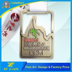 工場価格のカスタム金属のリボン(MD16)が付いているオリンピックスポーツの記念品のマラソンの円形浮彫り