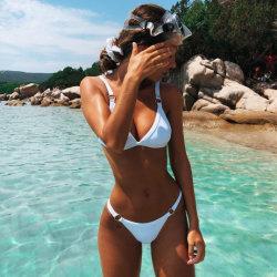 De stevige Bikini van de Dames van het Zwempak van de Driehoek van de Kleur Gespleten In het groot Sexy