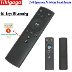 Tikigogo Tk1 2.4G drahtlose Gyroskop-Luft-Maus 14 IR Schlüssel-Mikrofon für Google behilfliche Sprachrecherche nach dem androiden intelligenten Fernsehapparat-Kasten erlernend Fernsteuerungs