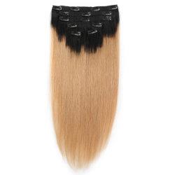 2018 Venta caliente! ! ! Mayorista de fábrica el doble de dibujado de grosor termina Remy Clip Hair Extension