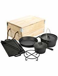 Camping Pre-Seasoned Ustensiles de cuisine en fonte définit avec boîte en bois