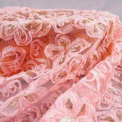 Tinten-Chiffon- Gaze-Spitze-Gewebe mit den PerleSequins verwendet für Hochzeits-Abend-Partei-Spitzenplätze