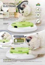 Giocattolo interattivo dell'animale domestico del gatto con la piuma girante elettronica