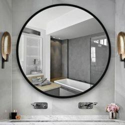 현대와 현대 둥근 까맣고 & 황금 & 은 & 로즈 황금 알루미늄에 의하여 짜맞춰지는 목욕탕 허영 벽 설치 미러