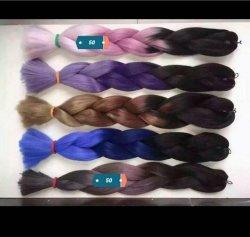 Ombre Le tressage des cheveux 24 pouces 100g/pièce deux tons synthétiques à haute température tresse fibre Ombre Jumbo hair extension le tressage des cheveux
