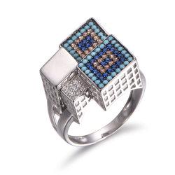 Творческими 925 серебристые с бирюзовыми кольцо