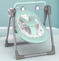 009 تم هز حامل الطفل الكهربائي الأخضر يدويًا، مع موسيقى Comfort وBluetooth®