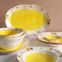 새로운 디자인 유럽 스타일의 핸드페인팅 세라믹 도자기 식기류 플레이트 Bowl 레스토랑 저녁 세트 테이블 용품