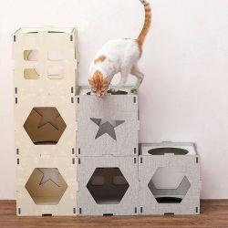 正方形の箱PVC泡のボードペットベッドペットおもちゃ猫の家