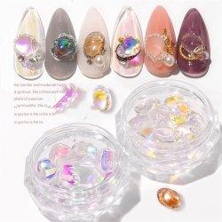 10PCS/Box輝いたクリスマスの釘の芸術の石の釘のアクセサリの芸術の水晶の石