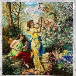 Europeo de la famosa pintura de aceite de arte bellas damas Mosaico de vidrio patrón para el cuarto de baño Decoración de pared