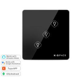 유리제 위원회 홈 지능적인 Zigbee WiFi 전등 스위치 저희 접촉 벽 스위치
