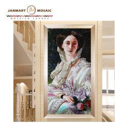 Mosaico artesanal de mosaicos de vidrio de la pared del mosaico mural mosaico cortados a mano la flor y la Dama de la frontera azulejos mosaico mural adhesivo