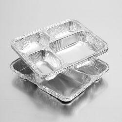 Takeaway Aluminium foil Tray met 4 compartimenten voor gebruik in restaurants voor eenmalig gebruik Vervuilingsvrije aluminium folie cateringtrays