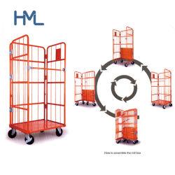 Fácil de montar la logística de almacenamiento de metal de almacén Contenedor de rollo de alambre plegable