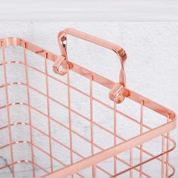 Cable de metal mayorista de oro rosa cesta de regalo de la cocina de almacenamiento de gran Soporte multimedia