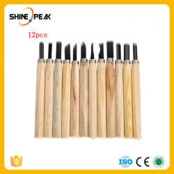 12 ferramentas para trabalhar madeira ferramentas de escultura em madeira Formões Conjunto de Facas de Cera de argila para entalhar Madeira Ferramenta Mão ferro com pega de madeira do transporte marítimo de Queda