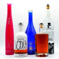 China-Glasflaschen-Fabrik-Großverkauf fertigt 500ml 750ml freier leerer Hebezeug-Whisky-Alkohol-Weinbrand-Wodka-Glasflasche kundenspezifisch an